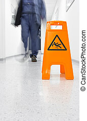 Slip hazard - Warning sign for slippery floor