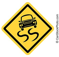 Slipery road sign