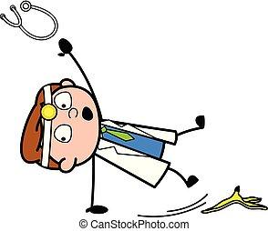 slipped, 剥皮, 医生, -, 描述, 香蕉, 矢量, 专业人员, 卡通漫画