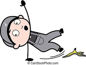 slipped, 剥皮, 工人, -, 描述, 卡通漫画, 矢量, retro, 修理工, 香蕉
