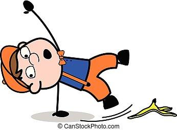 slipped, 剥皮, 工人, -, 木匠, 描述, 香蕉, 矢量, retro, 卡通漫画