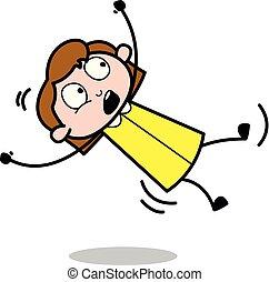 slipped, 办公室, -, 矢量, illustration?, retro, 雇员, 女孩, 卡通漫画