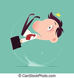 slipped, illustration-vector, 水坑, 水, 商人, 卡通漫画