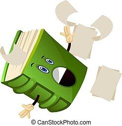 slipped, ilustración, fondo., vector, verde blanco, libro