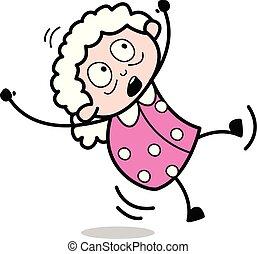 Slipped - Old Cartoon Granny Vector Illustration