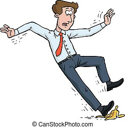 Man slipped on a banana peel vector illustration