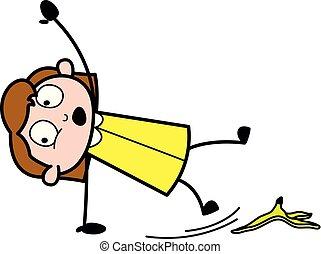 Slipped on Banana Peel - Retro Office Girl Employee Cartoon Vector Illustration
