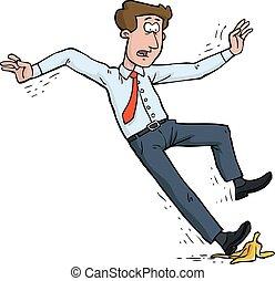 Slipped on banana - Man slipped on a banana peel vector...