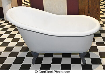 Slipper bathtub - VIntage style slipper bathtub in checker ...