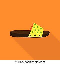 Slipper icon, flat style