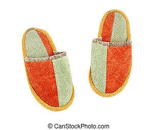 Slipper - Wool comfortable slipper, isolated on white ...