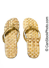 Slippers - A pair of woven abaca slippers on white ...