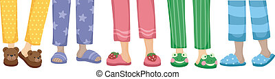 Slippers Border - Cropped Illustration Featuring a Variety...