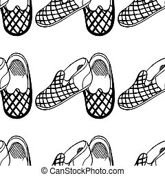 slippers - Seamless background of slippers. Hand draw...