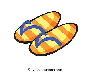 slippers - illustration of yellow stiped slippers on a white...