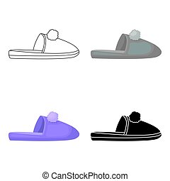 Slippers icon in cartoon style isolated on white background.