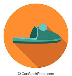 Slippers icon in flat style isolated on white background. Shoes symbol stock vector illustration.