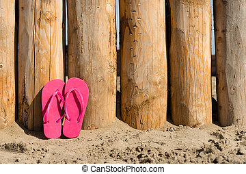 slippers on the beach - wheathered wood on the beach and ...