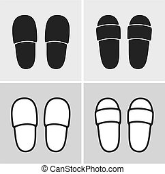 Slippers - Vector illustration of home slippers, clothes...