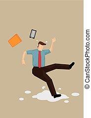 Slippery Floor Accident Vector Illustration - Cartoon ...