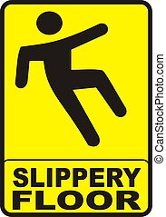 Slippery Floor Sign - sign with yellow background indicating...