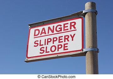 Slippery slope danger - a conceptual sign of danger