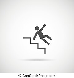 Slippery steps icon. man falling on stairs