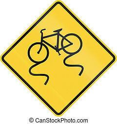 Slippery When Wet - Bicycle - US road warning sign: Slippery...