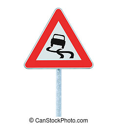 Slippery when wet road sign, isolated signpost traffic