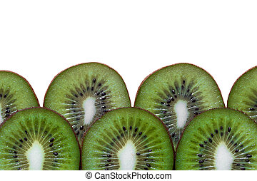 Slised kiwi fruits with free space on top