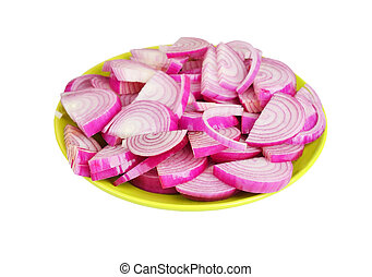 Slised red onion on plate, isolated on white background