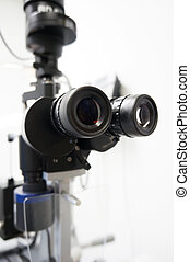 Slit lamp - Detail and high key picture of a slit lamp used ...
