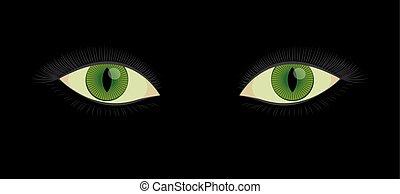 Slit Pupil Green Human Cats Eyes - Green human cats eyes...