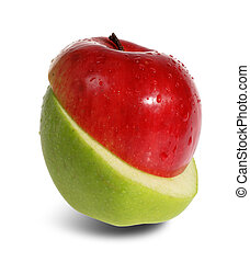 Slit red and green apple on the white background