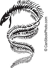 Slithering Moray Eel Skeleton, great for deep sea divers, Salt Life, Fishing use. Vector Graphic can be resized to almost any size.