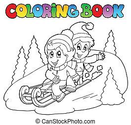 slitta, libro, coloritura, due, bambini