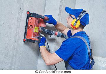 slitting, diamant, électricien, work., mur, câblage, machine, béton, découpage