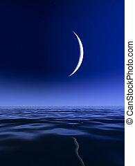 Sliver Moon over Lake