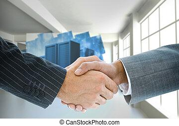 složený, handshake, podoba, povolání