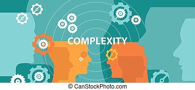 složitost, pojem, ilustrace, vektor, hlavička, myslící