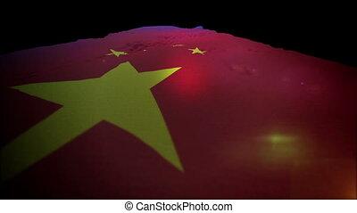 "slo-mo"", chinois, haut, drapeau, aller, ""waving"