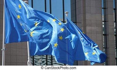 slo-mo, maison, ensoleillé, trois, commission, drapeaux, eu,...