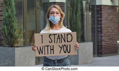 slogan, dehors, carton, masque, arrêt, concept., ...