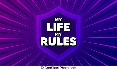 slogan., leven, regels, motivatie, message., mijn, motivational, vector