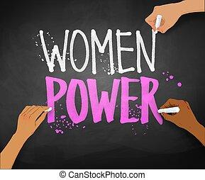 slogan, magt, skrift, kvindelig rækker, kvinder