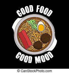 slogan, nourriture, ramen, nourriture, illustration, impression, branché, citation, bon, vecteur, design., mood.