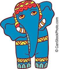 slon, vektor, ilustrace, osamocený, dále, white.