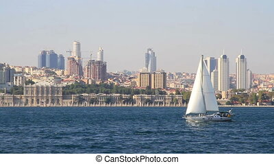 Sloop sailing in Bosporus Sea in Istanbul, Turkey