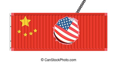 sloopwerk , amerikaan, bal, container, chinees
