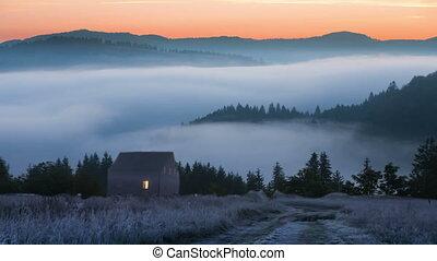 slope., brouillard, descendre, montagne